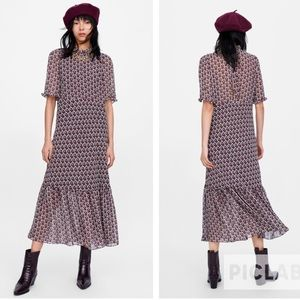Zara Woman Heart Print Midi Dress